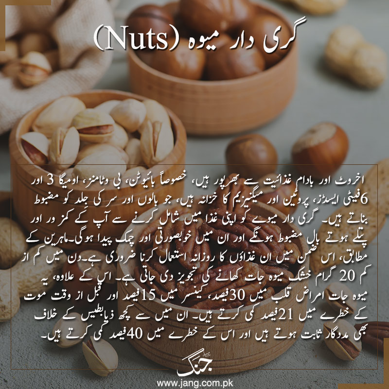 Nuts such as almonds, walnuts, and pecans are a great source of biotin, a vitamin known to help promote hair growth