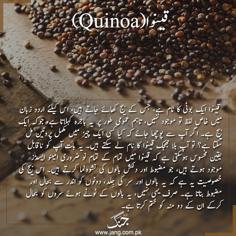 Quinoa is very high in protein, with all the essential amino acids