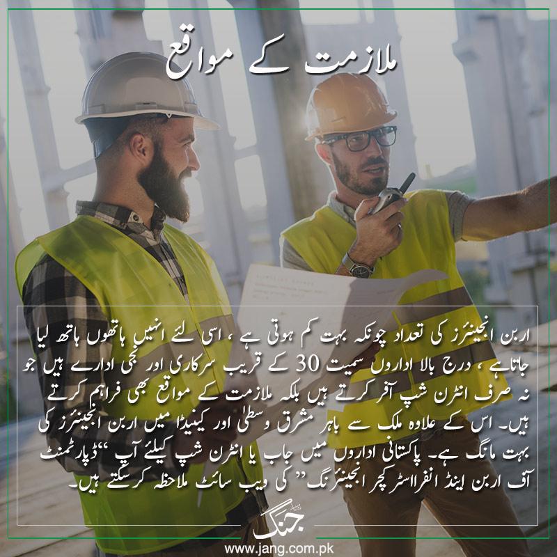 Job opportunities in urban engineering