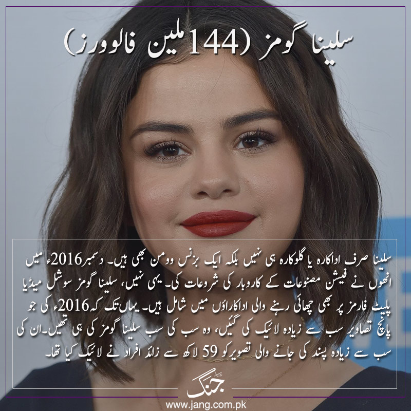 Selena Gomez most followed celebrities on instagram in 2018